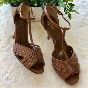 Brooks Brothers brown leather strappy heals Italy